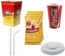 Biopaket litet Popcorn smör, Cola bägare m.m