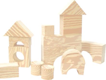Mjuka byggklossar (30 st, träfärgade)