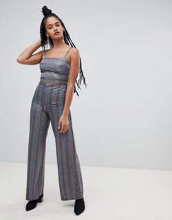 Miss Selfridge wide leg trousers in metallic stripe-Multi