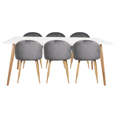 Spisebordssæt - Nordic spisebord + 6 Grå Nellie stole (LEVERES FRA UGE 12)