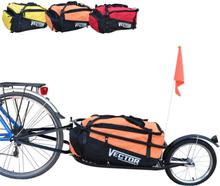 Enkelhjulet Cykeltrailer med orange taske
