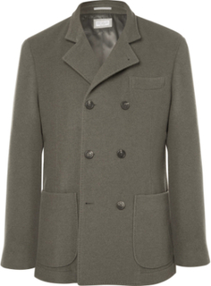 Green Unstructured Double-breasted Cashmere Blazer - Green