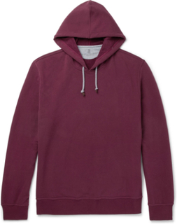 Fleece-back Stretch-cotton Jersey Hoodie - Burgundy