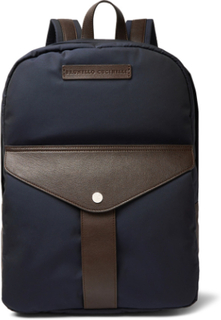 Full-grain Leather And Nylon Backpack - Navy