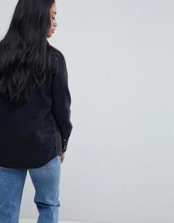 ASOS DESIGN Petite denim nederdel i forvasket sort