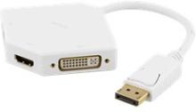 DELTACO DisplayPort till DVI/HDMI/VGA adapter, Ultra HD i 60Hz, 0,2m, vit