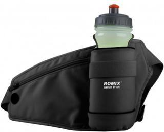 ROMIX Utomhussporter midjeväska med vattenflaskHållare Svart