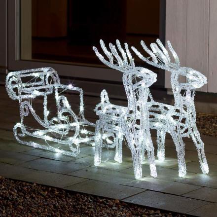 Strålende LED-udedørsdekoration rensdyr med slæde