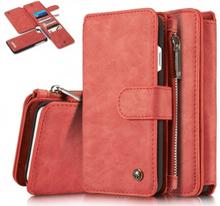 CASEME iPhone 8 / 7 Retro läder plånboksfodral - Röd