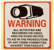 TV/Video-bevakning, Klistermärken 4st 8x8 cm