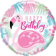 Happy Birthday Folieballong med Flamingo Motiv 46 cm