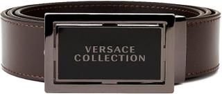 Versace Collection mäns rostfritt stål spänne läder bälte Brown 40