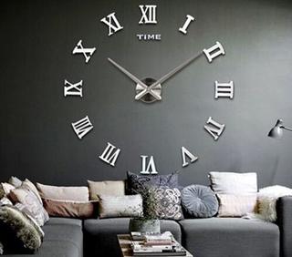 Moderne 110x110 cm væg ur i klassisk stil med romer tal - sølv
