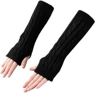 TRIXES Arm Warmers fashionabla vintern sticka Fingerlösa långa vantar