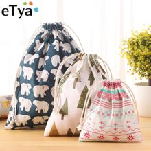 eTya Fashion Portable Drawstring bags Girls Shoes Bags Women Cotton Travel Pouch Storage Clothes handbag High Quality Makeup bag