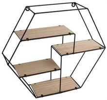 Væghængt eller stående hylde i metal og træ - 4 hylder i én