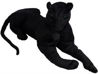 Panter bamse - 100 cm lang - Stor sort tøjdyr med blå øjne