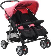 vidaXL Tvillingvagn rosa och svart stål