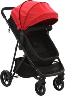 vidaXL 2-i-1 klapvogn/barnevogn stål rød og sort