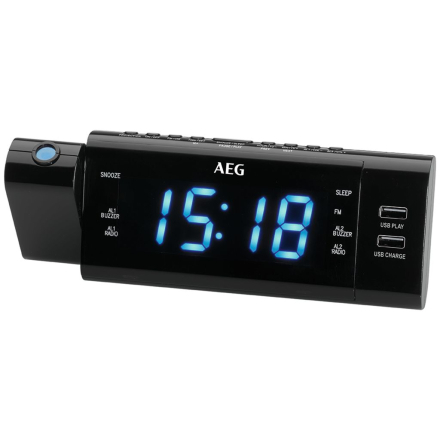 AEG clockradio med tidsprojektion MRC 4159 P sort