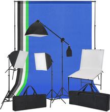 vidaXL Studioutrustning med fotobord, lampor och bakgrunder