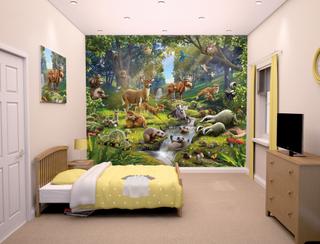 Skogens djur tapet - Walltastic skogsdjur 3D tapet 43060