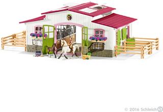 Ridecenter med rytter og heste - Schleich hestestald 42344