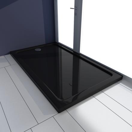 vidaXL Rektangulær ABS Dusjplate/bunn svart 70 x 120 cm