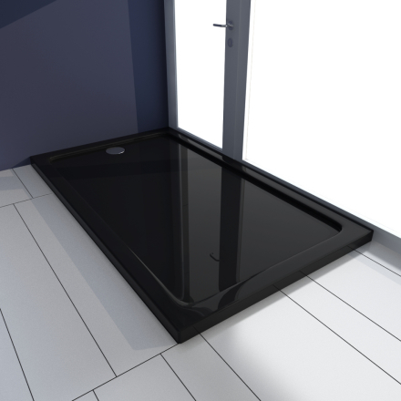 vidaXL Rektangulärt ABS duschkar svart 70 x 120 cm