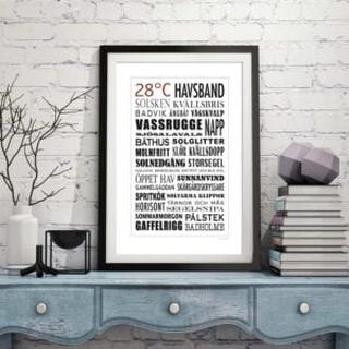 TEXT TAVLA 28°C HAVSBAND Poster/Black/White: 70x100 995 Tavla med ram (svart)