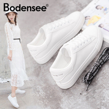 BODENSEE White Sneakers Women Canvas Shoes Women Fashion Vulcanize Shoes Summer Casual Zapatillas Mujer Plus Size 35-42