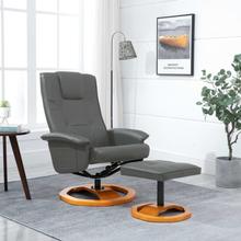 vidaXL drejelig lænestol med fodskammel grå kunstlæder