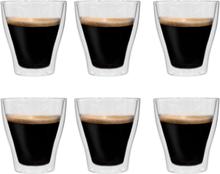 vidaXL Espressoglas dubbelväggiga 6 st 280 ml