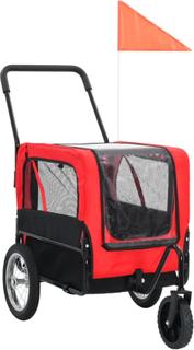 vidaXL 2-i-1-Cykelvagn för husdjur och joggingvagn röd och svart