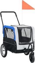 vidaXL 2-i-1 cykelanhænger og joggingklapvogn til kæledyr grå og blå