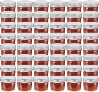 vidaXL Syltetøyglass med sølve lokk 48 stk 110 ml