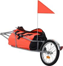 vidaXL Cykelvagn för bagage med väska orange och svart