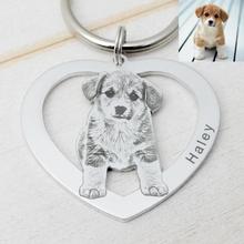 Personalized Heart Photo Keychain Custom Picture Keychain Cat Keyring Birthday Gift Keepsake Memory Dog Keychain