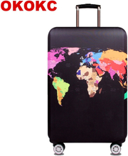 OKOKC World Map Elastic Thick Luggage Cover for Trunk Case Apply to 18''-32'' Suitcase,Suitcase Protective Cover Travel Accessor