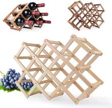 Quality Wine Racks Wooden Wine Bottle Holder 10 Bottle Holder Mount Bar Display Shelf Folding Wood Organizer Wine Racks Men Gift