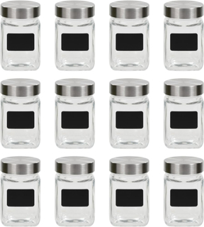 vidaXL opbevaringsglas med etiket 12 stk. 300 ml