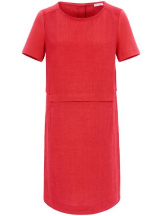 Kortärmad klänning i linne från Riani röd