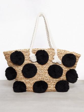 Håndvesker - Black Creme Glamorous Ladies Pom Pom Bag