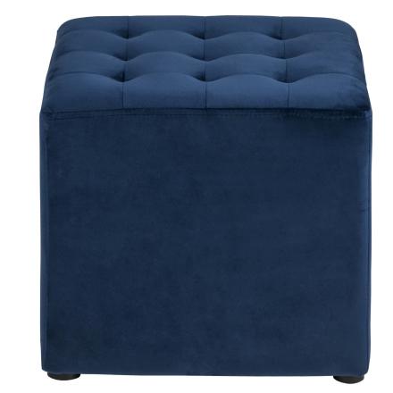 Sitz Pouf Samt Blau Viereckig
