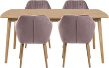 Essgruppe | Esstisch Massivholz Eiche 180 cm mit 4 Samt Stühlen Rosa - Carlos