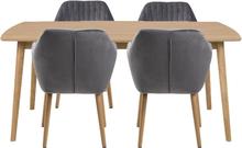 Essgruppe | Esstisch Massivholz Eiche 180 cm mit 4 Samt Stühlen Grau - Carlos