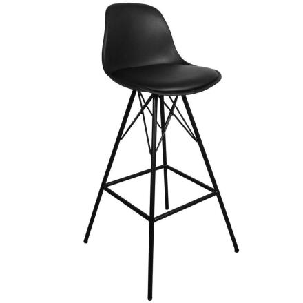 Barhocker mit Lehne Schwarz 65 cm | Küchenhocker - Comfort (ab Kalenderwoche 26 lieferbar)