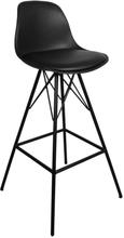 Barhocker mit Lehne Schwarz 65 cm | Küchenhocker - Comfort