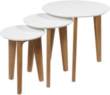 Satztische / Couchtisch Set 3 teilig Weiß / Eiche | Wohnzimmertisch - Nordic