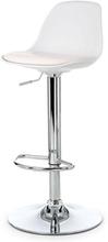 Barstol i vit plast med justerbar höjd och krom underrede - Adam